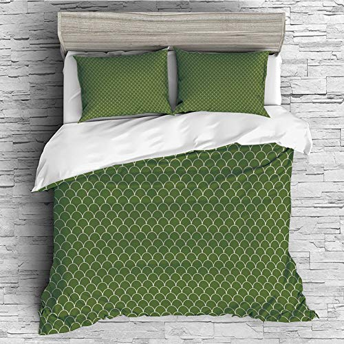 iPrint Soft Luxurious 4 Pcs Decorative Quilt Duvet Cover Set Comforter Cover Set(King Size) Green,Vivid Forest Natural Colored Geometric Wave Like Round Edged Shaped Image,Olive Green and Wh