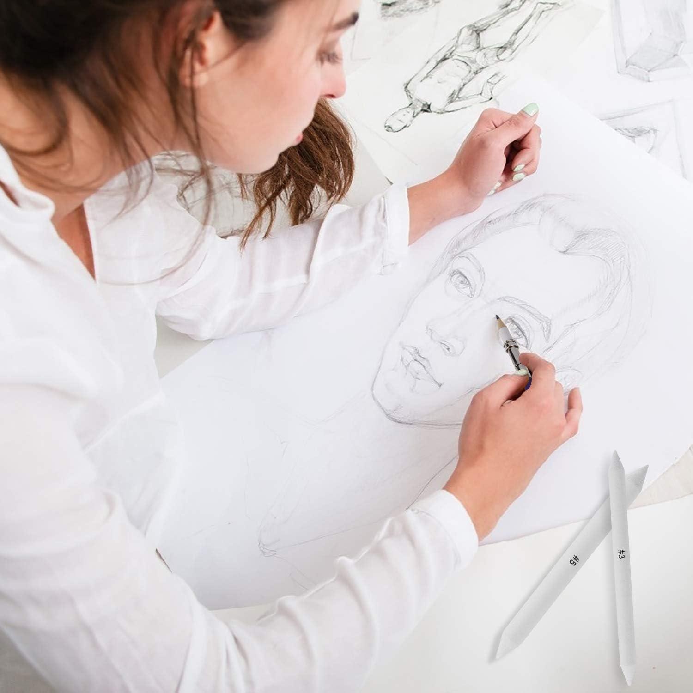 Set di Sfumini per Disegno con 2 Pezzi di Temperamatite di Carta Vetrata e 1 Strumento di Estensione per Matita Disegnare 20 Pezzi ISIYINER Sfumino per Disegno