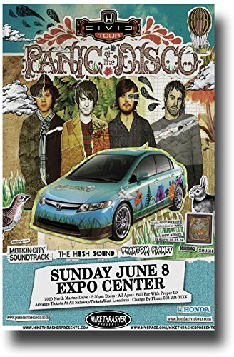 Concert Promoter Panic at The Disco Poster - - 11 x 17 Pretty Odd Tour  w/Motion City Soundtrack Car