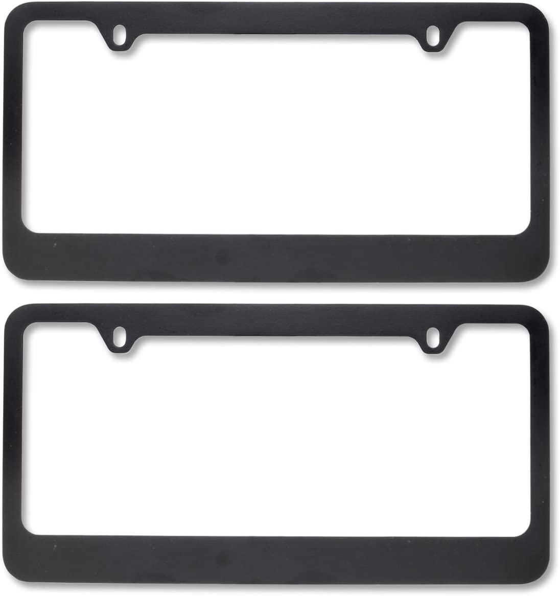 BDK Die-Cast Metal License Plate Frames – Black Matte Plated & Rust-Free with Blank Design (2 Pieces)