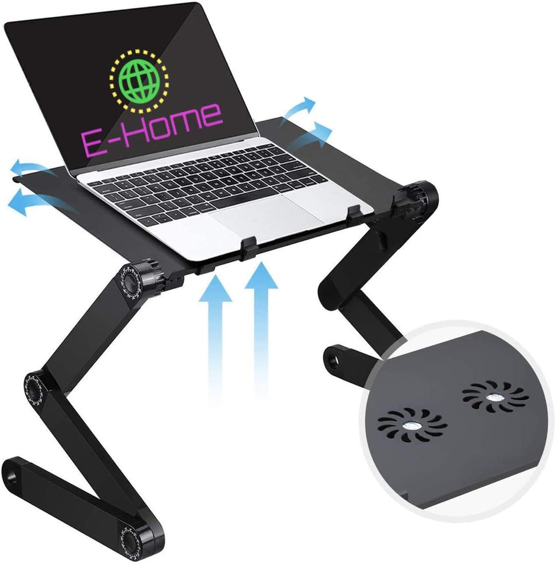 E-Home Adjustable Height Laptop Stand with 2 CPU Cooling Fans and Mouse Pad | Foldable Book Stand | Standing Desk | Portable Workstation | Ergonomic Bed Tray | Couch Sofa | Ventilation | Office Desk