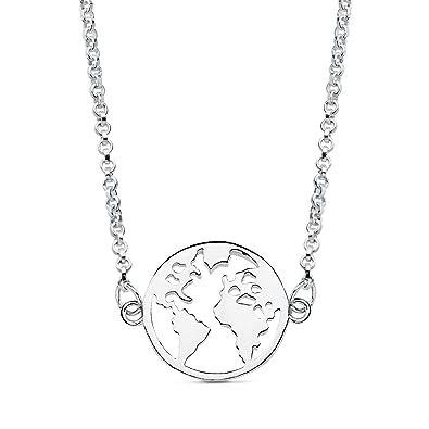 bb593dd237fc Iyé Biyé Jewels - Collar mujer niña plata de ley 925 mundo 14 mm cadena  rolo 42 cm ajustable.  Amazon.es  Joyería