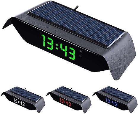 D Ragon Solarleuchtendes Autouhr Thermometer Hochpräzise Autouhr Elektronische Autouhr Ohne Verkabelung Starten Sie Mit Dem Auto Küche Haushalt