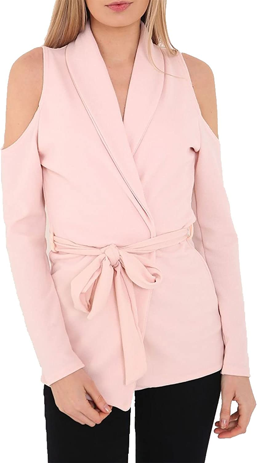 Women Ladies Cut Out Cold Shoulder Belted Crepe Long Sleeve Duster Blazer Jacket