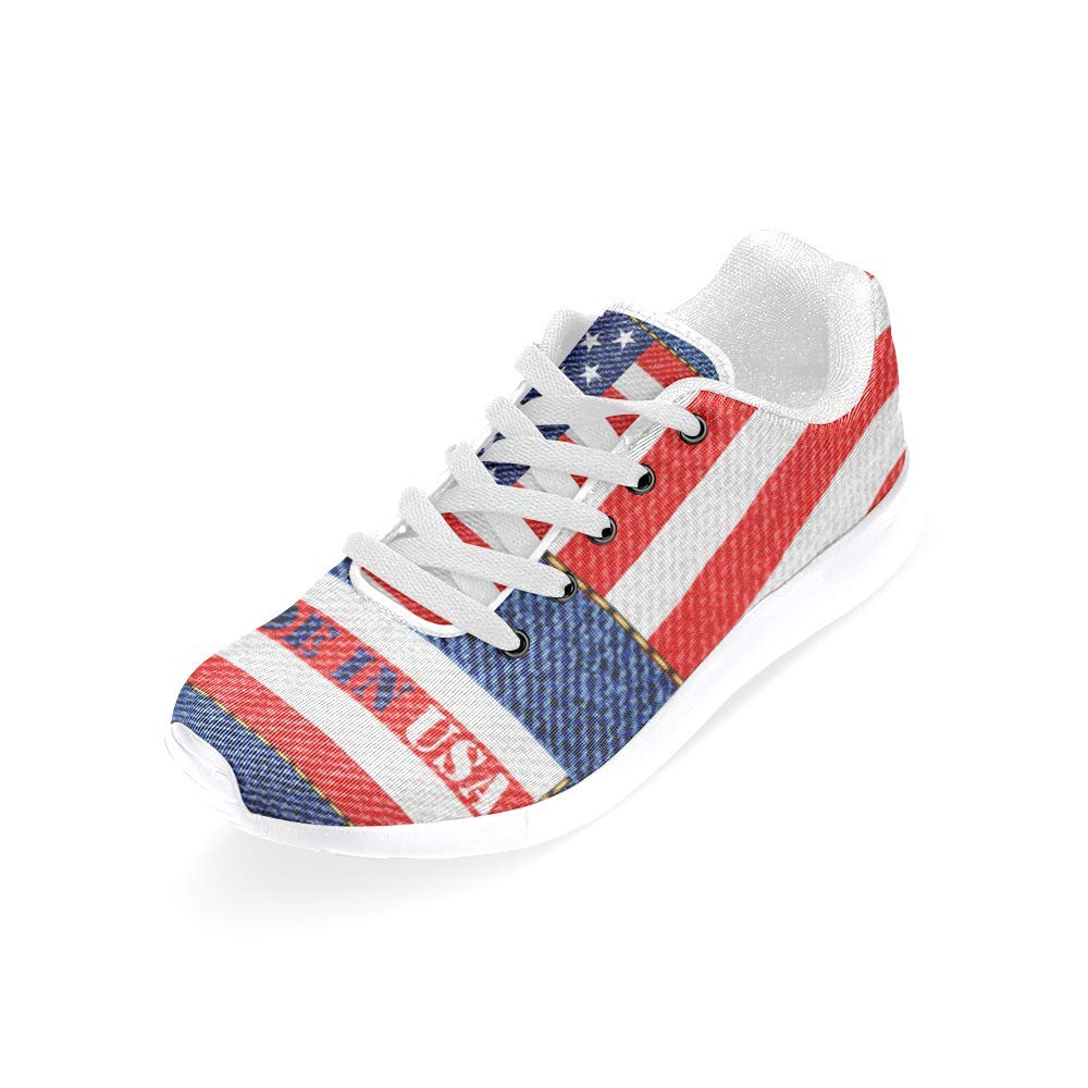 Athletic Canvas Sneakers inQUE Womens Walking//Running Shoes Blue Denim Made in USA Print Design