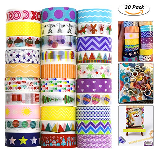 Homga Washi Tape, 30 Roll Decorative Adhesive Washi Masking Tapes Sticker for Scrapbooking DIY Crafts and Gift Wrapping【5 meters,1.5cm】