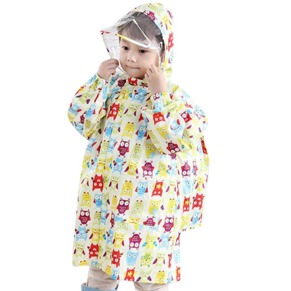 Kinder Jungen & Mädchen Cartoon Regenmantel mit Schultasche Sitz Beige Eule / 95-105cm hibote Network technology Ltd