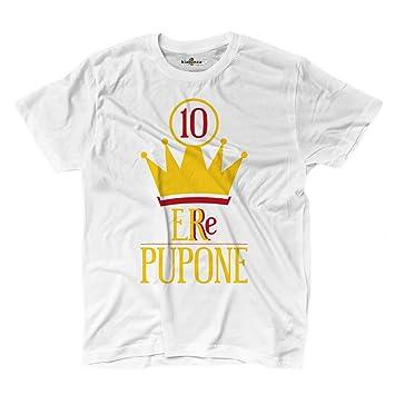 Camiseta camiseta fútbol Roma Totti Capitán pupone Leyenda Re 10 futbolista 2, blanco, Small