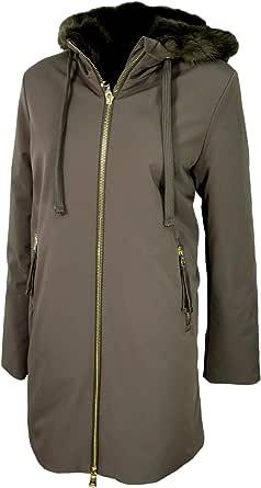 HOX Chaqueta de mujer XD4527 color topo con capucha forrada de piel sintética