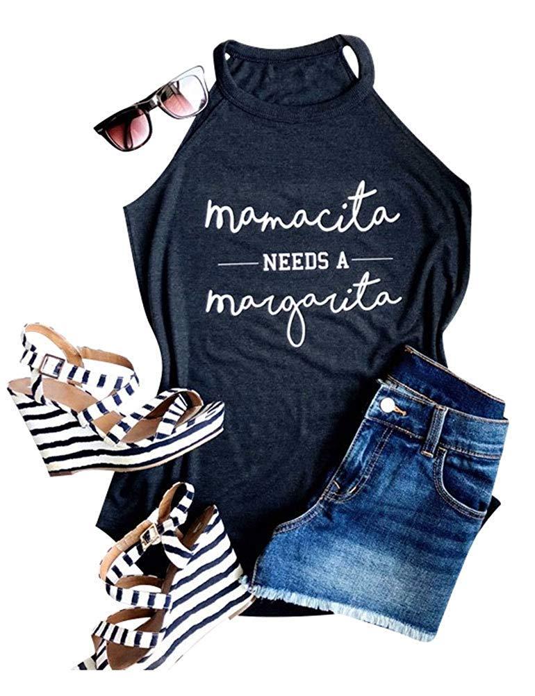 Ofenbuy Mamacita Needs A Margarita Tank Top Halter Neck Sexy Letter Print Graphic Camisole