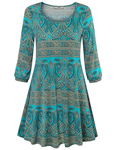 Women Bohemian Style Geometric Pattern 3/4 Sleeve Vintage Dress - 1