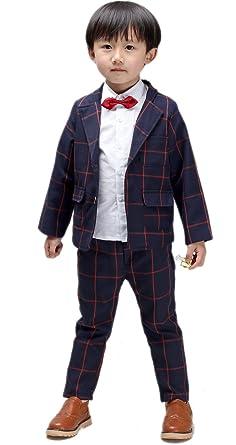 4489bbe8d59a3 子供服 ブレザーとズボン2点セット チェック柄 フォーマルスーツ 男の子 結婚式 紳士