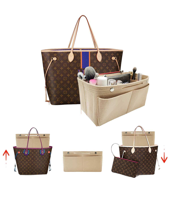 Beige LEXSION Felt Fabric Purse Handbag Organizer Bag  Multipocket Insert Bag Rosy L