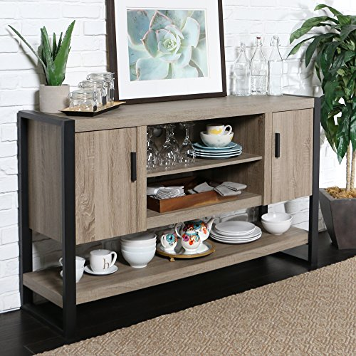 WE Furniture 60″ Wood Console Table Buffet Stand,