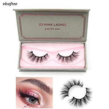6b9640d9aef Amazon.com : Visofree Eyelashes Mink Eyelashes Cruelty-free Medium Volume 3D  Mink Strip Eyelashes Natural False Eyelashes (E01) : Beauty