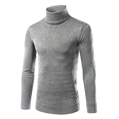 Abetteric Mens Turtleneck Knit Fall Winter Solid Long-Sleeve Pullover Sweater
