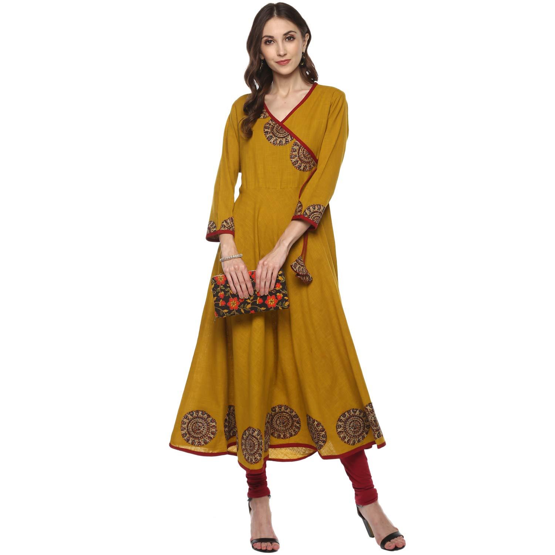 Women's Cotton & Crush Angrakha Kurta