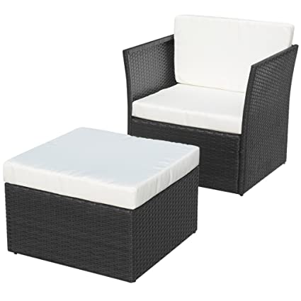 Festnight 5 Pieces Patio Garden Poly Rattan Chair Set And Footrest With  Cushion, Black