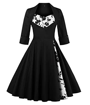 Amazon.com: MERRYA Women\'s Retro 50s Style 50s Plus Size Floral ...