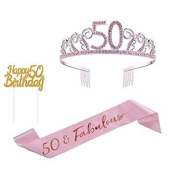 Amazon.com: Decoración para tarta de 50 cumpleaños, 50 hojas ...