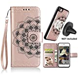 iPhone 6s/6 Case,iPhone 6/6s Wallet Cases with Detachable Slim Case Fit Magnetic Car Mount, Card Solts Holder, CASEOWL Embossed Mandala Pattern Flower Floral Vegan Leather Flip Wallet Case [Rose Gold]