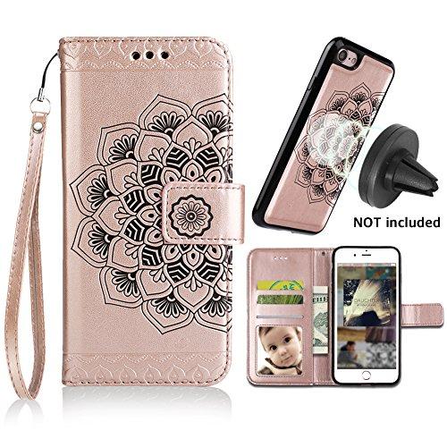 iPhone 8 Case,iPhone 7 Wallet Cases with Detachable Slim Case Fit Magnetic Car Mount, Card Solts Holder, CASEOWL Embossed Mandala Pattern Flower Floral Vegan Leather Flip Wallet Case [Rose Gold]