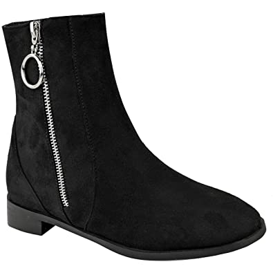 fef9d38f2f4a Fashion Thirsty Womens Flat Low Heel Chelsea Ankle Boot Elastic Gusset Pull  On Riding Heel Shoes