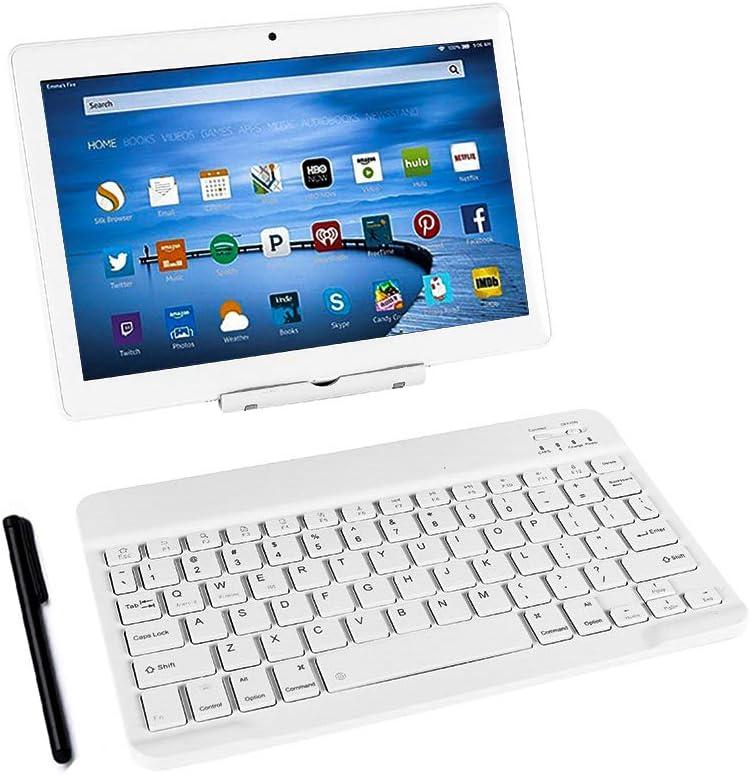 Tablet PC con teclado (AZERTY) Android Smartphone libre Dual SIM Quad Core, ordenador portátil, 16 GB ROM, doble cámara, WiFi, Bluetooth (plata)