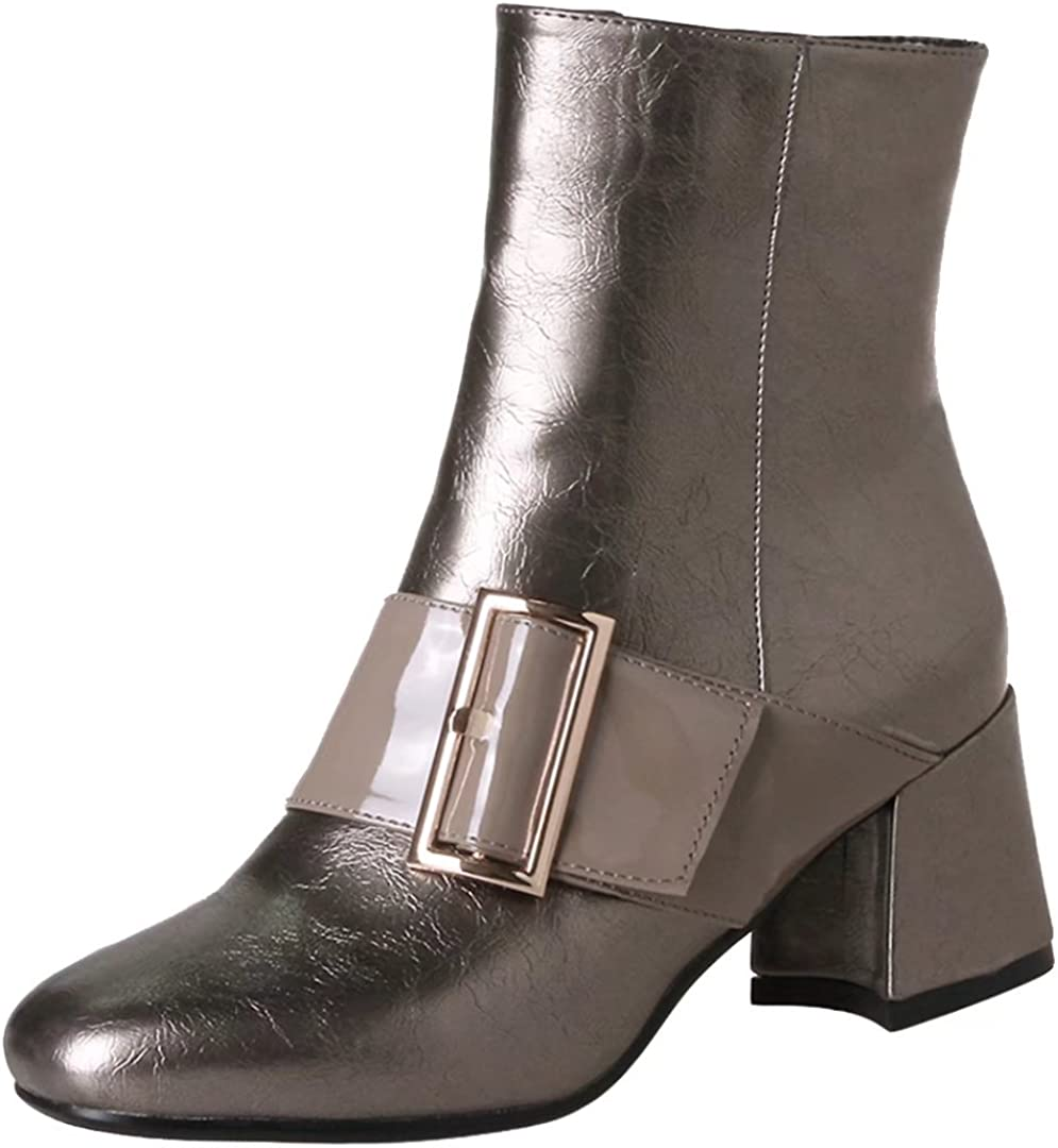 AIYOUMEI Womens Fashion Block Heel Side Zipper Bootie Ankle Boots with Buckle