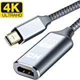 Mini DisplayPort to HDMI Adapter, Capshi 4K Thunderbolt to HDMI Converter [ Smart, Nylon Braided, Aluminum Shell ] Compatible MacBook Air, iMac, MacBook Pro, Surface Dock, Monitor, Projector- Grey