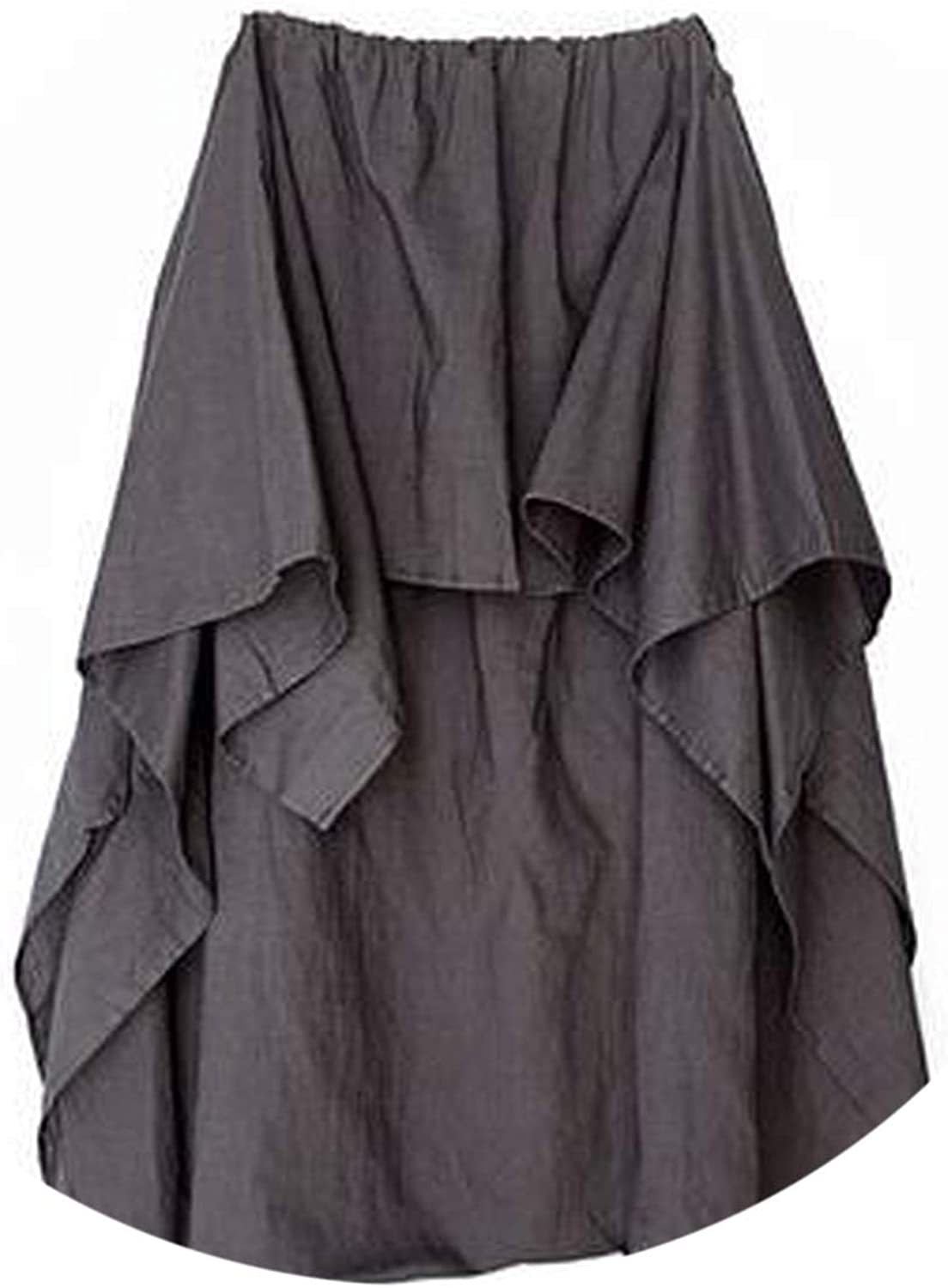 Women Wide Leg Loose Linen Cotton Asymmetric Pants Original Designer Plus Size Capris Elas,Gray,One Size