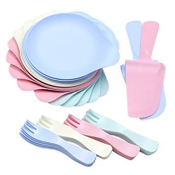 4 color durable plastic cutlery set includes 20 round plates and