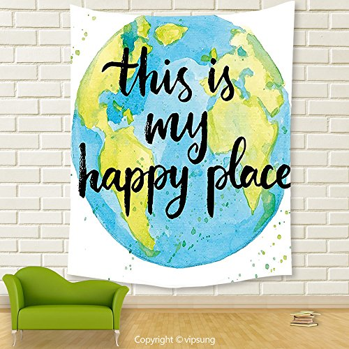Vipsung House Decor Tapestry_Quote Cartoon Like World Print In Blue And Green With This Is My Happy Place Lettering Multicolor_Wall Hanging For Bedroom Living Room Dorm