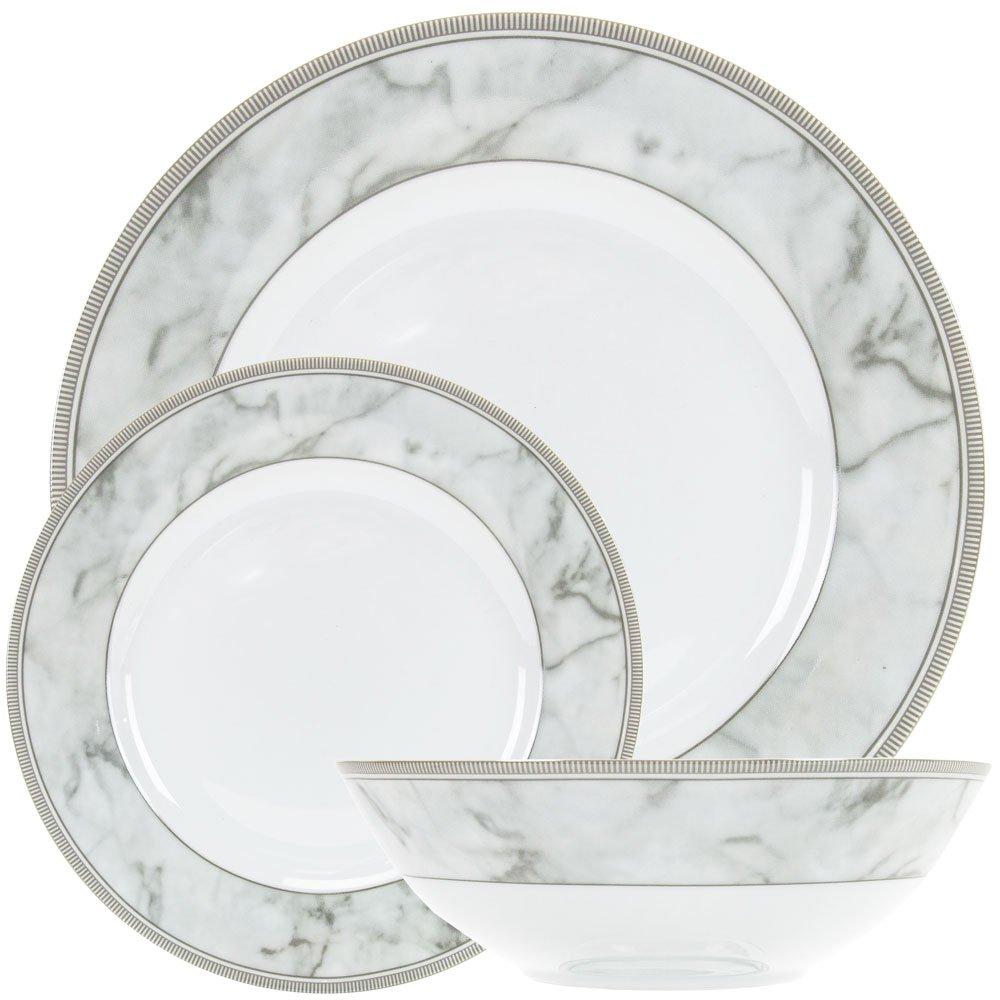 Happy Homewares Contemporary Grey Marble Effect Gloss Ceramic 12-Piece Dinner Set