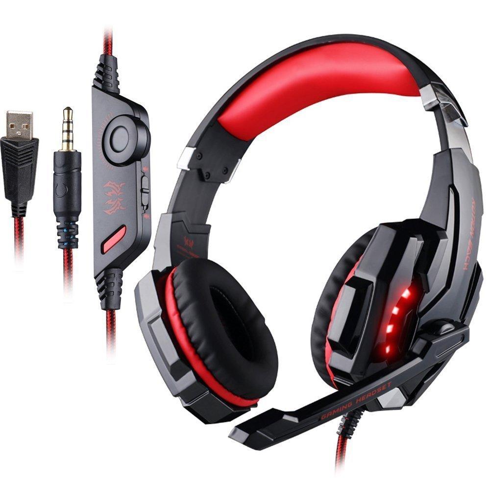 VersionTech Auriculares Gaming Estéreo para PS4 Nueva Xbox One Juegos con Micrófono Gaming Headset Profesional Bass Over-Ear con 3.5mm Jack Luz LED Bajo Ruido Compatible con PS4 PC Ordenador Portátil y Smartphone(Rojo)