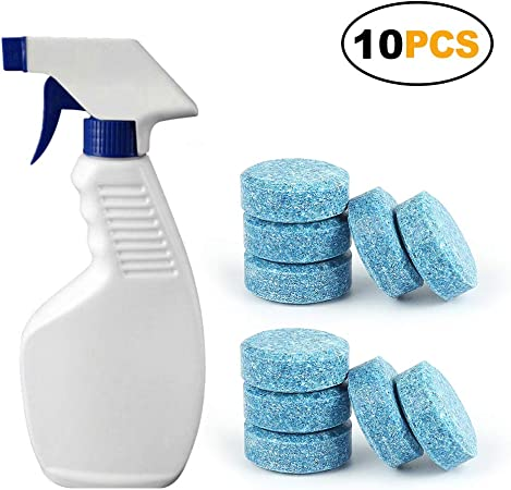 Juego de pastillas efervescentes de agua para limpiaparabrisas, multifuncional, con 1 botella de spray de 50