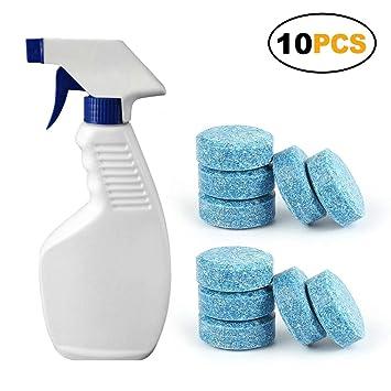 10 pastillas limpiadoras de ventanas para limpiaparabrisas de coche, limpiador multifuncional de spray White+10 PCS blanco: Amazon.es: Hogar