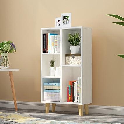 QIANGDA Floor Bookshelf Grid Ark Bookcase Storage Book Flower Shelf Commodity Unit Room Divider