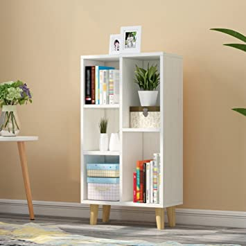 QIANGDA Floor Bookshelf Grid Ark Bookcase Storage Book Flower Shelf Commodity Unit Room Divider