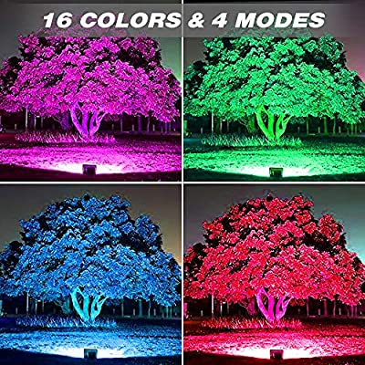 Onforu 2 Pack 100W RGB LED Flood Lights with Remote Control, IP66 Waterproof Dimmable Color Changing Floodlight, 16 Colors 4 Modes Wall Washer Light, Outdoor Decorative Landscape Garden Stage Lighting