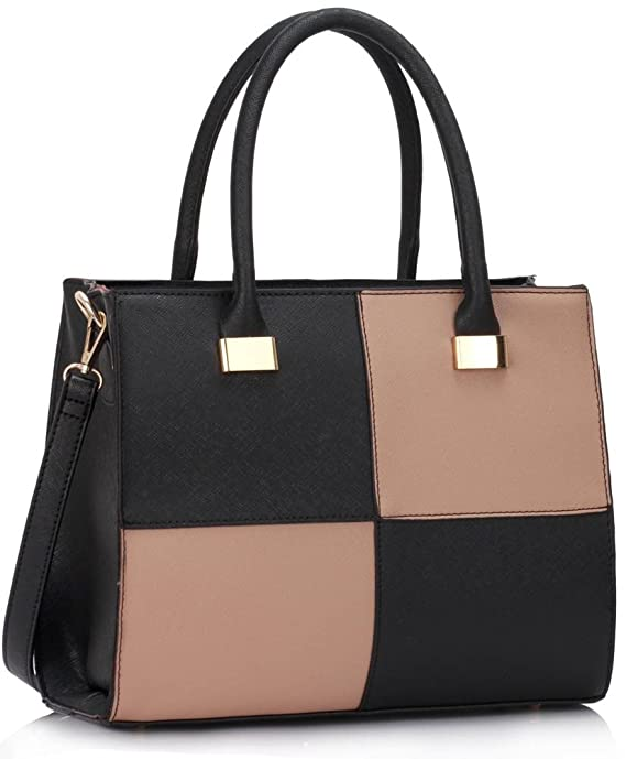 e7c2d65f9446 Ladies Women s Fashion Quality Faux Leather Bags Handbags Chic Designer Bag  LS00153M (Black Nude)  Amazon.co.uk  Clothing