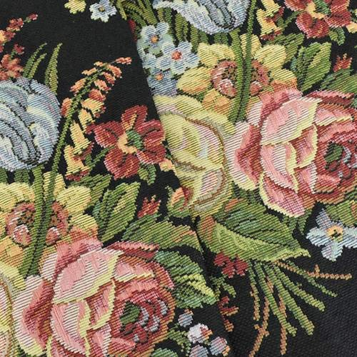Pink/Black/Multi Texnova Floral Tapestry Decorating Fabric, Fabric by The Yard