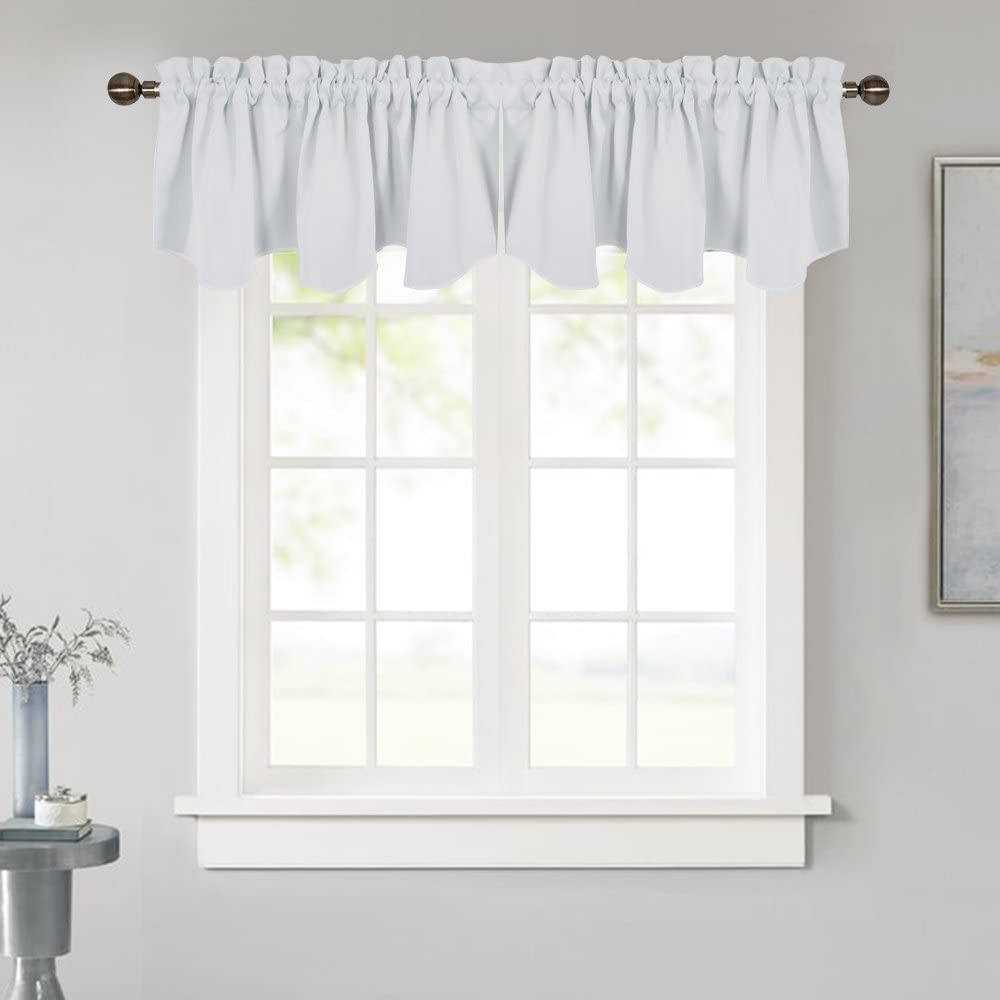 NICETOWN Room Darkening Curtain Valance - 52 inches by 18 inches Scalloped Rod Pocket Home Decoration Valance Curtain Panel for Living Room/Bedroom, Greyish White, 1 Pack