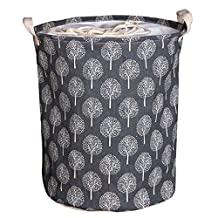 SODIAL(R) Large Bucket Drawstring Beam Port Dirty Clothes Laundry Basket Foldable Toys Storage Organizer Household Sundries Bag£¨white tree£©