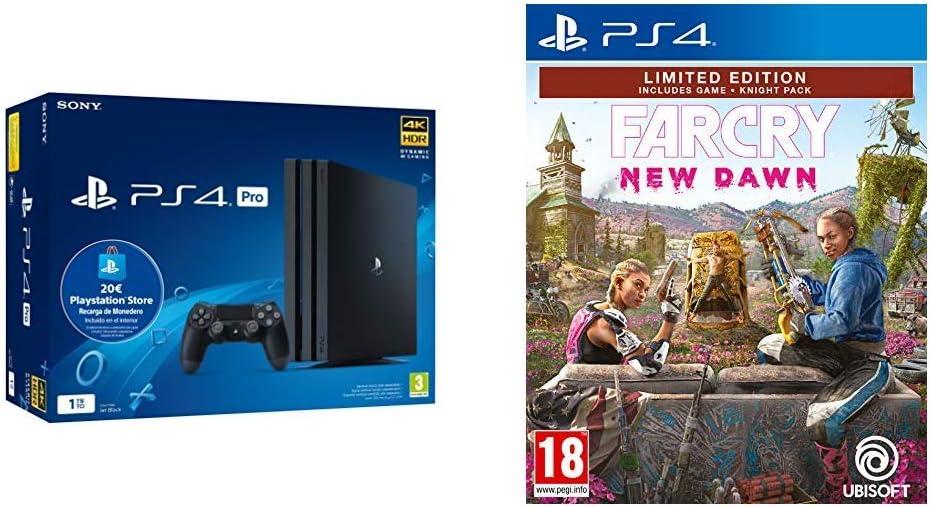 Playstation 4 Pro (PS4) - Consola de 1TB + 20 euros Tarjeta Prepago (Edición Exclusiva Amazon) - nuevo chasis G + Far Cry New Dawn (Edición Exclusiva Amazon): Amazon.es: Videojuegos