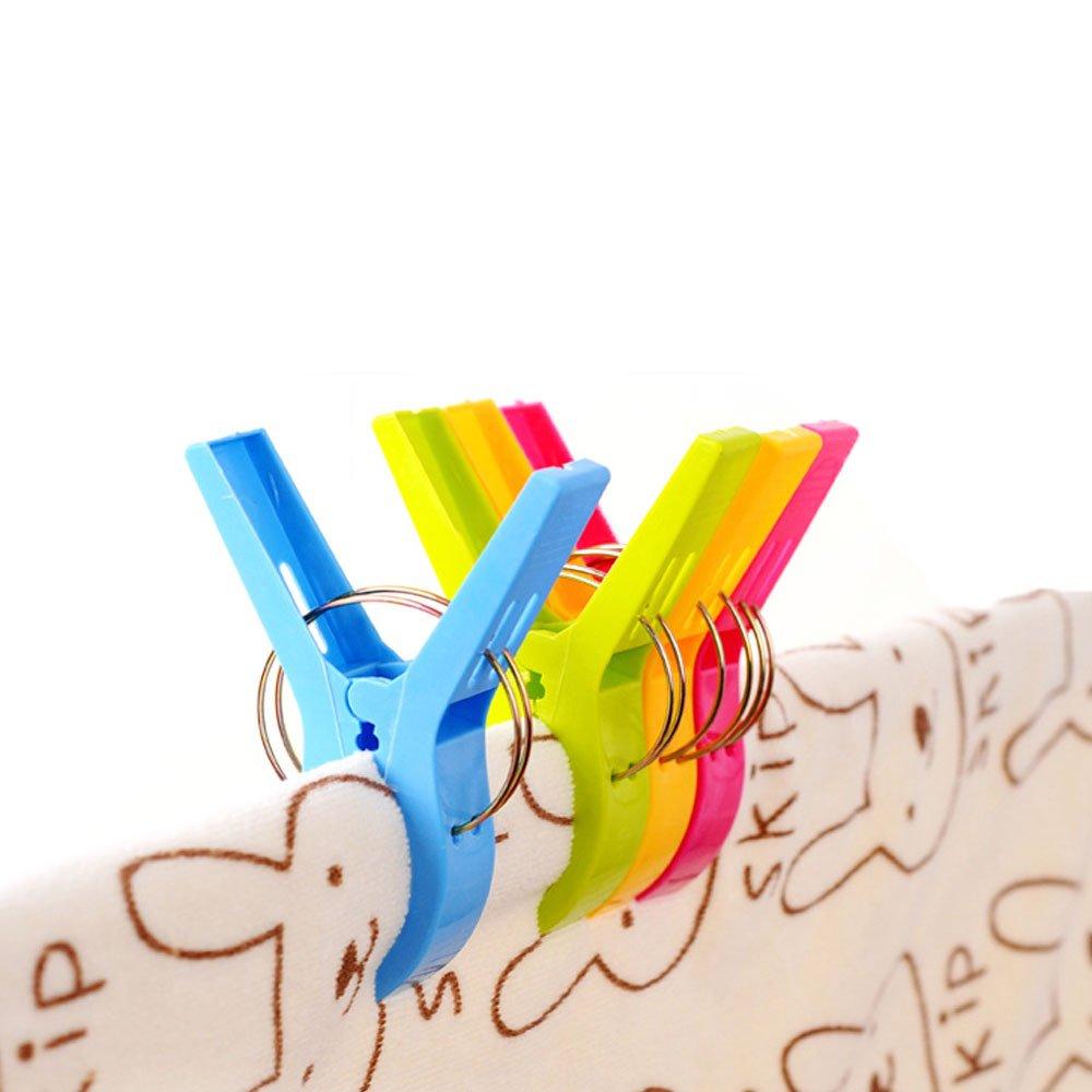 Strandtuch Clips, July Miracle 12pcs große winddichte Kunststoff Badezimmer Handtuch Clips, Quilt Clamps Wäscheklammern für Pool Stühle, Wäsche, Liegen und Sonnenliegen