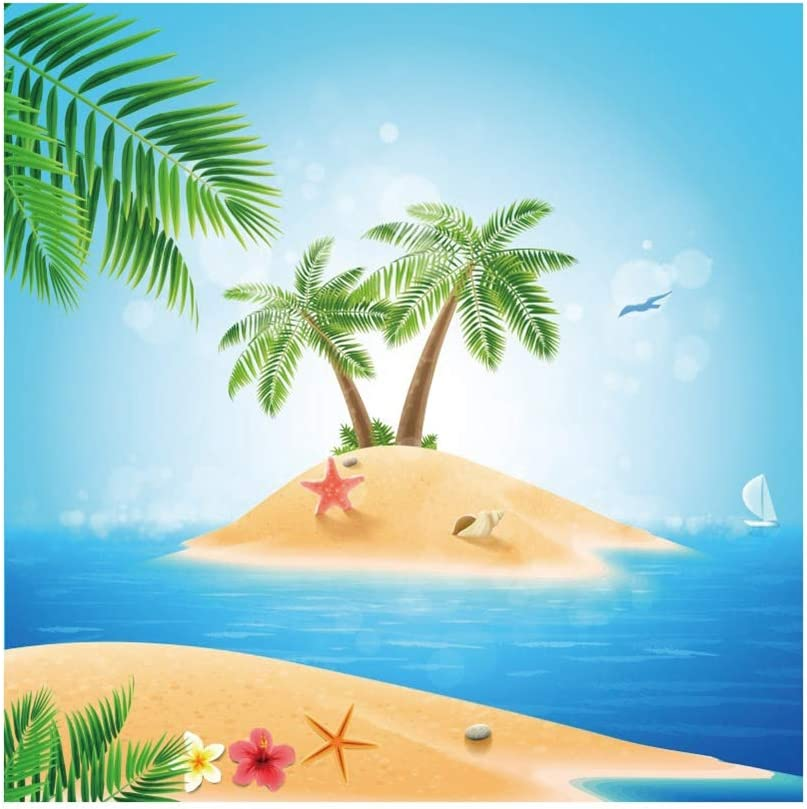 YEELE 10x10ft Summer Tropical Island Backdrop Kids Birthday Party Photography Background Baby Shower Childrens Day Child Acting Show Kids Adults Portrait Birthday Photobooth Props Wallpaper