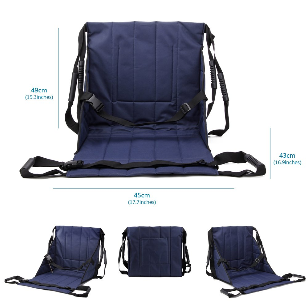 Patient Lift Stair Slide Board Transfer Emergency Evacuation Chair Wheelchair Belt Safety Full Body Medical Lifting Sling Sliding Transferring Disc Use for Seniors,handicap (Blue - 4 Handles) by NEPPT (Image #3)
