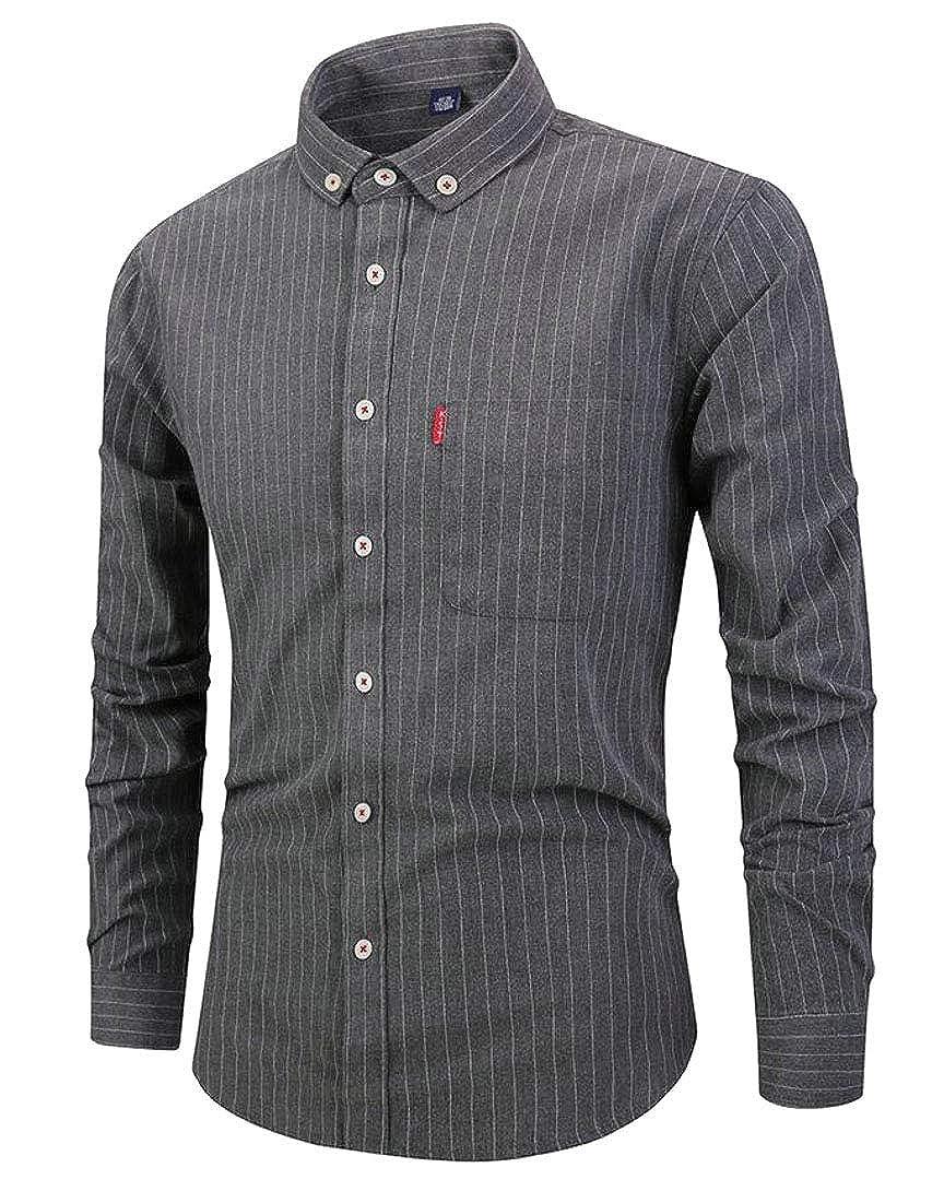 omniscient Mens Dress Shirts Business Striped Button Down Long Sleeve Button Down Shirts