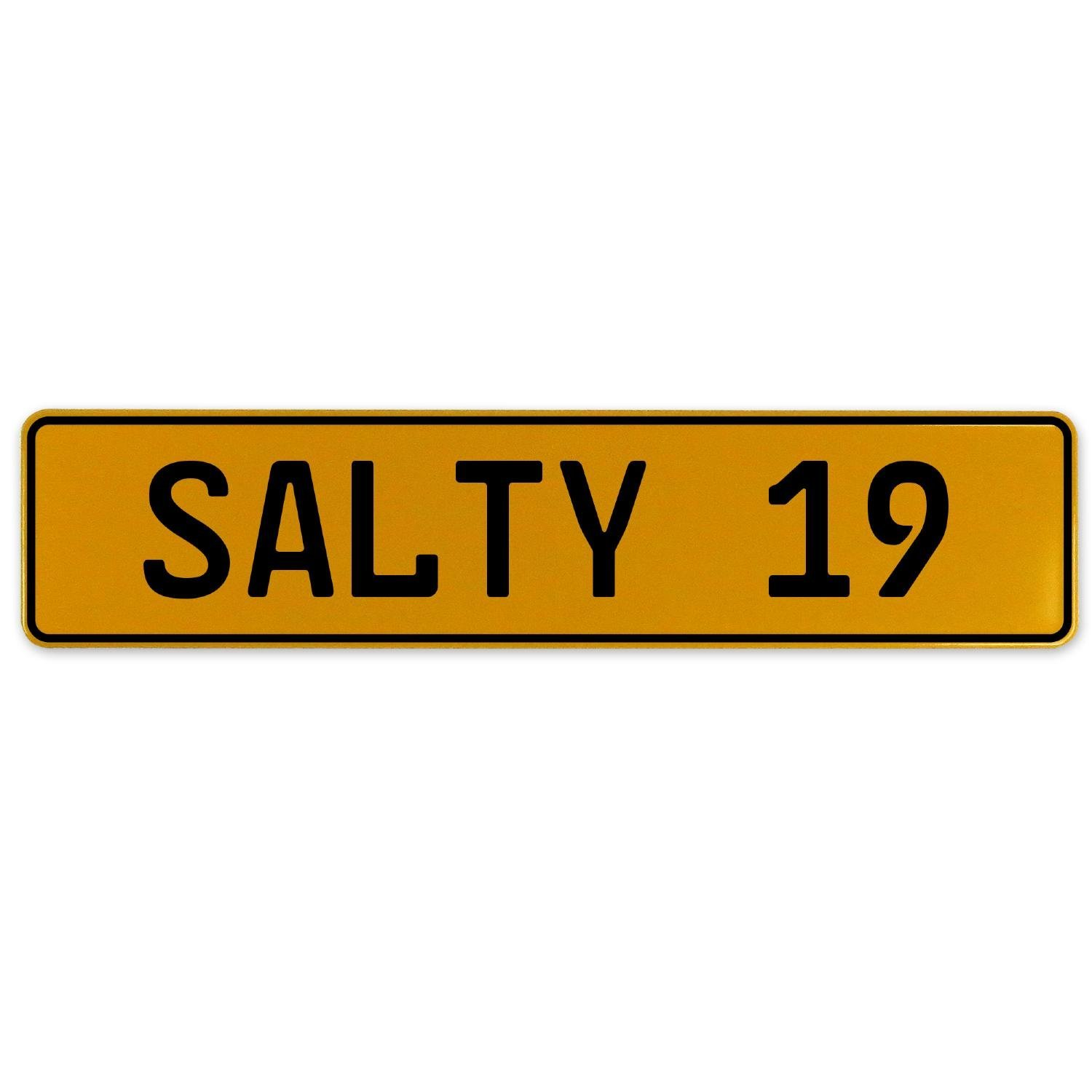 Vintage Parts 561745 Salty 19 Yellow Stamped Aluminum European Plate